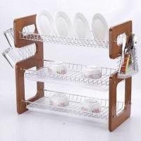 Wooden Dish Rack with Chrome-plated Surface Finish, Measures 57 x 26 x 50cm Manufactures