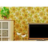 China Sunflower Pattern Living Room Modern Wallpaper With Embossed Surface , Golden Color wholesale