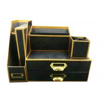 China OEM Office Supplies eco-friendly black and gold-rimmed  Paper Cardboard 6 pcs desk organizer set storage set on sale