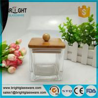 fancy square jar with lid, glass jar with bamboo lid and silicone ring Manufactures