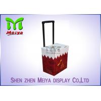 China Foldable Corrugated Material Advertising Carton Trolley With Retractable Handle And Wheels wholesale
