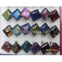 China lampwork foil beads dichroic glass ring dichroic foil glass ring on sale