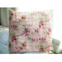 China Victorian Frilly Edge Quilted Linen cushion cover on sale