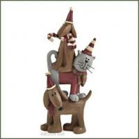 Blossom Bucket Christmas DOG and CAT STACK Figurine Manufactures