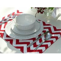 China Set of 4 Reversible Placemats - Red Chevron & Red Striped wholesale
