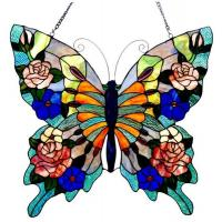 China Mariposa Butterfly Glass Window Panel 24x22.5 on sale