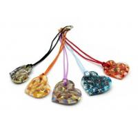 China MURANO GLASS HEART PENDANT, 44X40 MM, AVAILABLE IN 5 ASSORTED COLOURS on sale