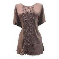 China New Womens CJ Banks Plus Size Top Blouse 1X 14/16 Olive Green Shirt Ruffle Front wholesale