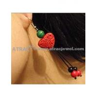 Carved lacquerware pure manual heart shape drop earrings