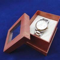 China Watch box rectangle red leather watch box with see-through window one-piece on sale
