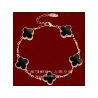 China Fashion 925 Sterling Silver jewelry With Black Agate Stone Four Leaf Clover Bracelet wholesale