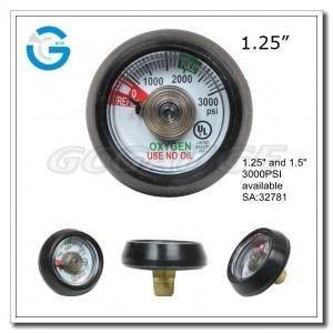 "Quality 1.25"" 3000psi Spiral tube medical oxygen pressure gauges with ul certificate for sale"