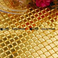 China High Imitation Gold Mosaic HP01 Waterproof Plain Golden Glass Mosaic Tile for Bathroom Wall Decor on sale