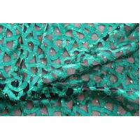 Fancy Green Lace Fabric With Holo Sequin For Ladies