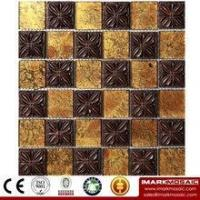 China IMARK Yellow Gold Foil Glass Mosaic Tile Mix Flower Resin Mosaic Tile, Foshan Tile, Home depot Tile on sale
