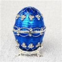 TBP1516-blue faberge egg jewelry box silver box metal alloy trinket box gifts for her Manufactures