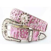 Bling western rhinestone leather lady belt Valentines Gift Manufactures