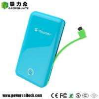 Ultra Thin Build-in Cable Power Bank 6000mAh With 2 USB Ports Manufactures