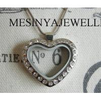 316L stainless steel PVD or IP gold heart glass photo or floating charm locket valentine gift Manufactures