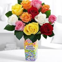 China Best Sellers One Dozen Long Stemmed Vibrant Birthday Roses on sale