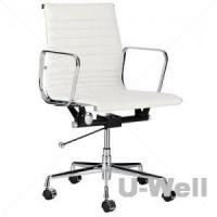 Top management midback leather aluminum armrest eames home office chair white Manufactures