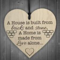 WOODEN HEART - 100mm - House Bricks and Stone
