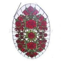 China GP0003-rose flower tiffany glass window panel on sale
