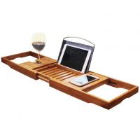 China Bamboo Bathtub Caddy Tray With Extending Sides on sale