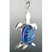 China 3 Escargots Dichroic Glass Jewelry - Turtle Pendant, Blue on sale