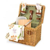 """Picnic Time Napa 11 3/4"""" Willow basket w/ wine & cheese service for 2 Manufactures"""