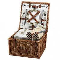 China Picnic at Ascot Cheshire English-Style Willow Picnic Basket with Service for 2 - London Plaid on sale