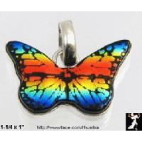 China Jewelry Butterfly Pendant: Dichroic Glass Sterling Silver Butterfly on sale