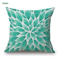 China Custom Leaves Design Digital Printed Cotton Linen Cushion Cover on sale