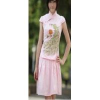 China women Two Piece Plus Size Peafowl Embroidered Cheongsam Pink wholesale