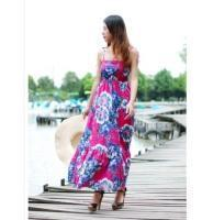China women Sweet Traditional Flower Printing Off-shoulder Cotton Maxi Dress Rose on sale