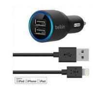 Usb Cable New Belkin 2-port USB Car Charger & Lightning Cable for iphone5/ 5S/ iPod/Ipad