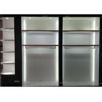 China Matte White Wooden Retail Clothing Fixtures Apparel Store Shelves With LED Lights wholesale
