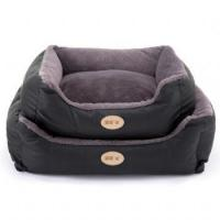 China Luxury Faux Leather Soft Fur Fleece Large Dog Bed Pet Cat Basket on sale