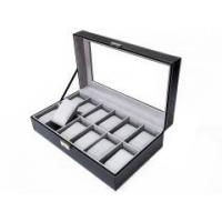 China Wholesale 12 SlotsBlack PU Leather Wooden Watch box/Jewelry Packaging Box with Glass Window on sale
