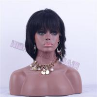 China Lace Wig 10inch natural color natural wave lace wig with bangs wholesale